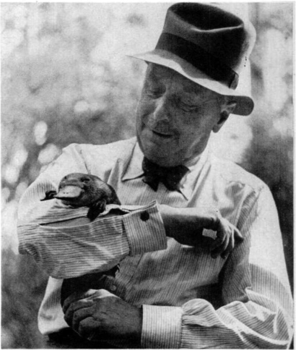 H.G. Wells with platypus. Australia, 1939.