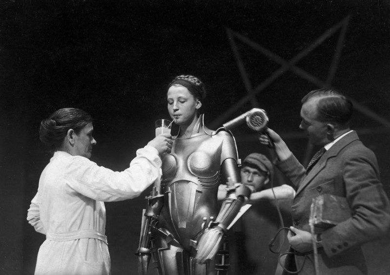 "Brigitte Helm during the filming of ""Metropolis"""
