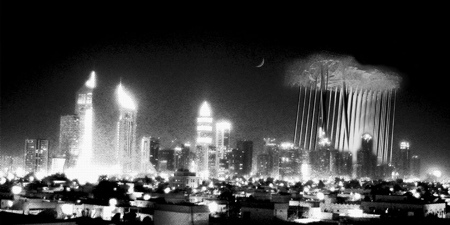 "Dubai at night -- concept for proposed ""rain cloud"" building on the right"