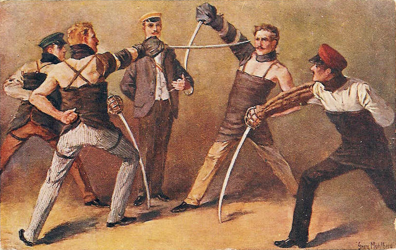 German students of a Burschenschaft fighting a sabre duel, around 1900, painting by Georg Mühlberg (1863–1925)