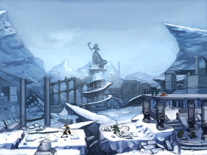 Snow skirmish among Ancient ruins