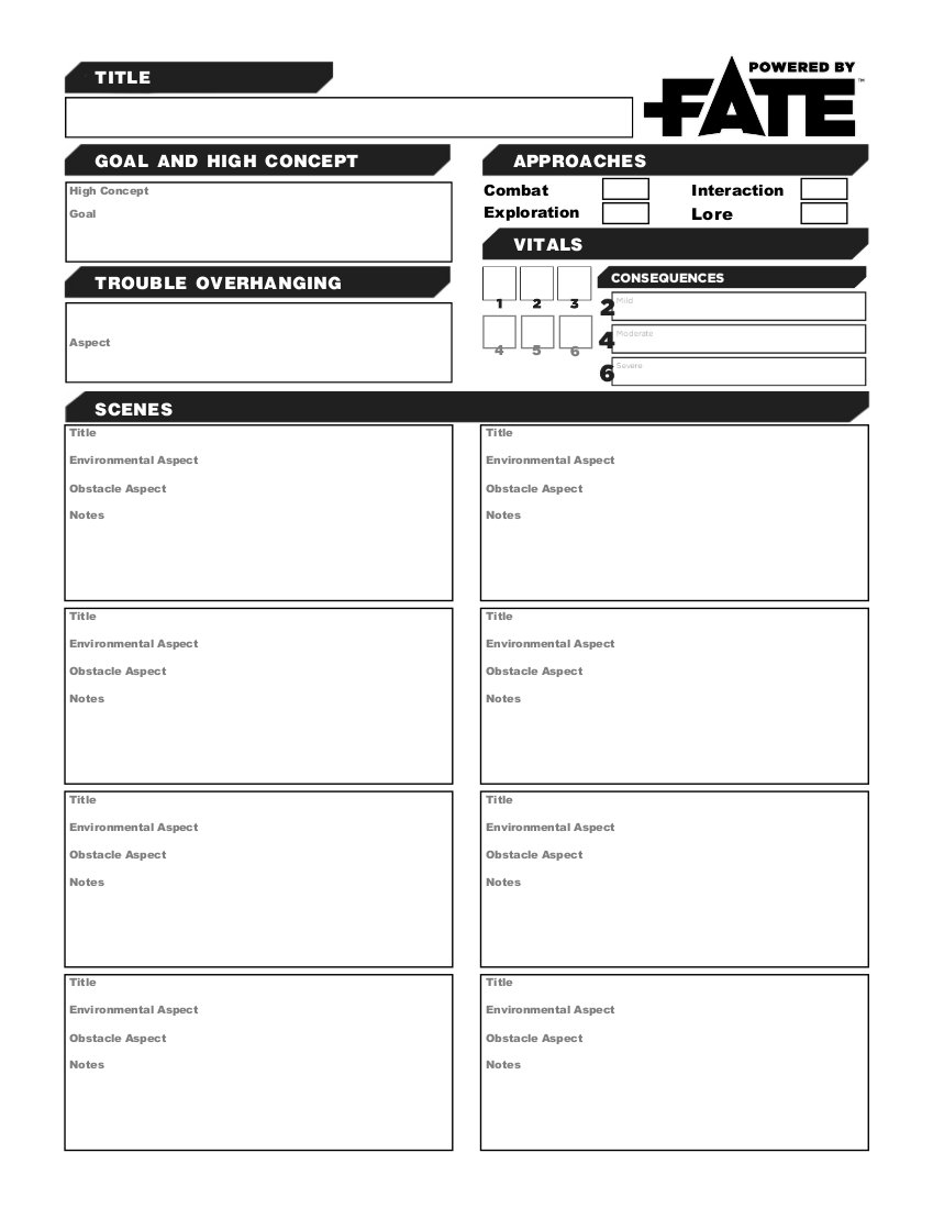 Fate FormFillable Adventure Worksheet The Reef – Character Creation Worksheet