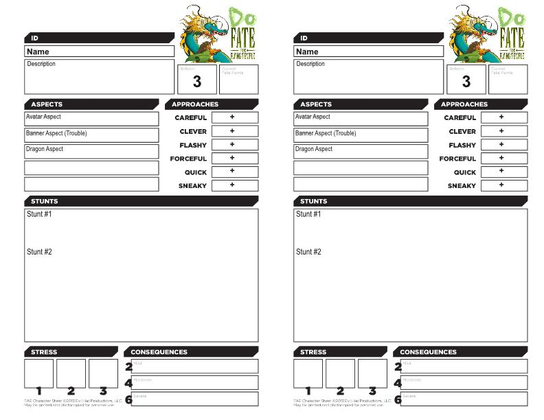 Character sheet for Do: Fate of the Flying Temple