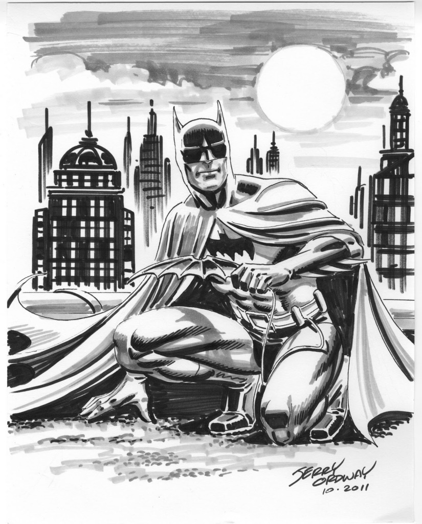 Jerry Ordway sketch, Batman with batarang