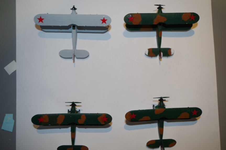 The PO-2s, painted as an air ambulance section.