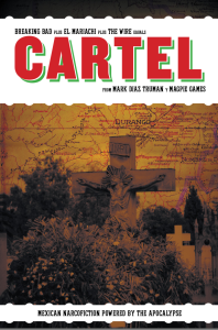 Magpie Games' Cartel. It's right there on the cover in a few words.