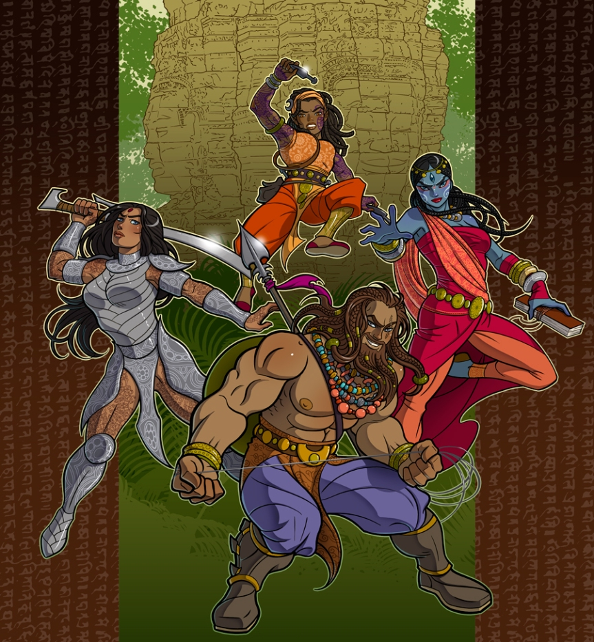Our Heroes - Ram, Rahi, Merit, and Kanta. Art by Claudia Cangini.
