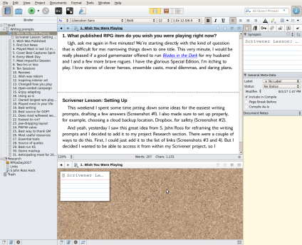 8. Add a new section for Scrivener lesson